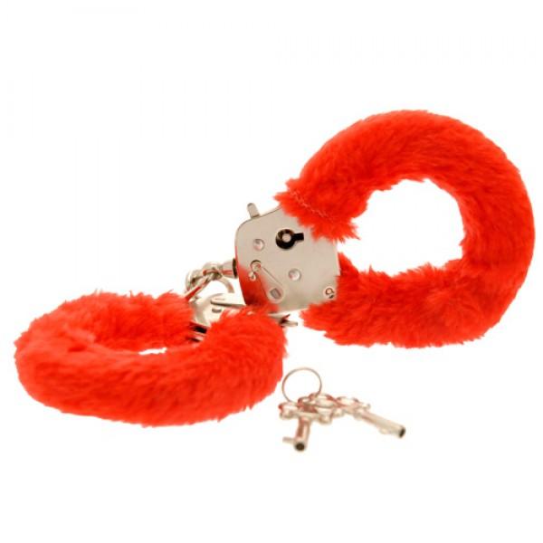 Toy Joy Furry Fun Hand Cuffs Red Plush