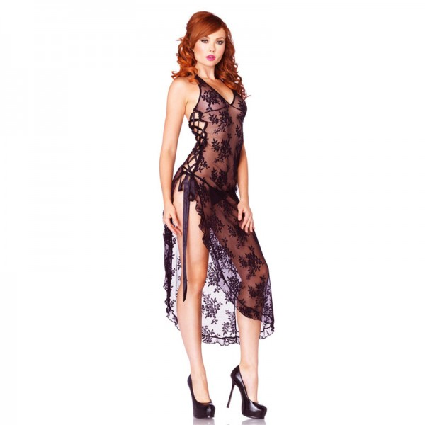 Leg Avenue 2 Piece Rose Lace Long Dress With Lace Side Black