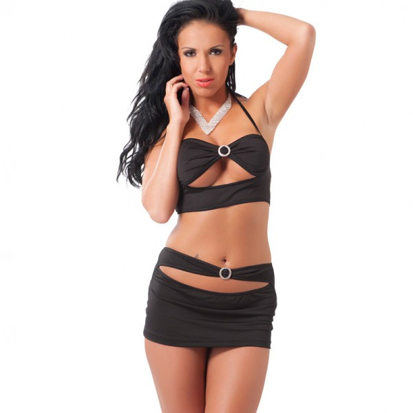 Black Mini Skirt And Crop Top UK Size 8 to 12